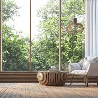 Modern living room with nature view 3d rendering Image. There are decorations in room with wood. There are large windows overlooking the surrounding nature and forest